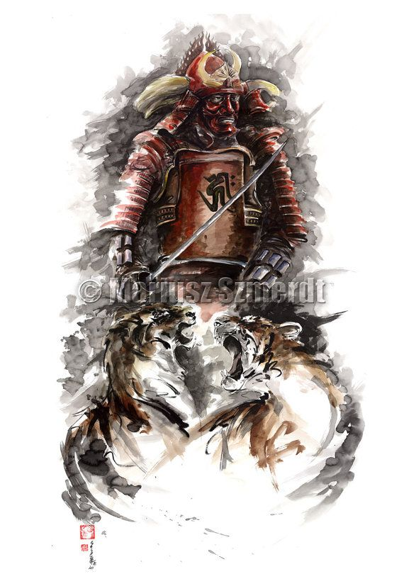 Samurai bushido artwork. Japanese warriors way. https://www.etsy.com/listing/161557837/warrior-samurai-painting-large-japanese? #japanesewarriorsart #asianartwork #bushidoart #hagakureart #want