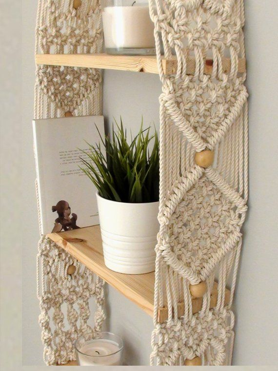 Unique Macrame shelf, triple Hanging Shelf, Wall Boho Chic, vintage Home Decor, floating wood modern crochet shelf, Three woven rope shelves #macrame