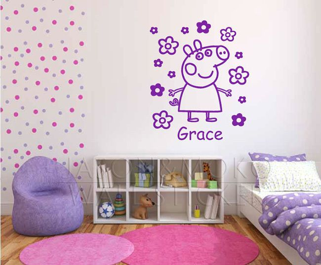 Large personalised Peppa Pig name wall sticker flowers
