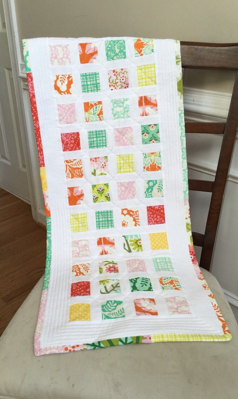 Spring quilted table runner, summer quilted table runner, quilted table runner, Spring table runner, summer table runner by TheQuiltedPillow on Etsy
