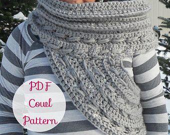 Katniss Cowl Inspired Crochet Pattern~ (Scarf Shawl Huntress Vest Sweater Archer arrow Infinity Scarf Chunky Wool Pattern) Katniss Knitwear