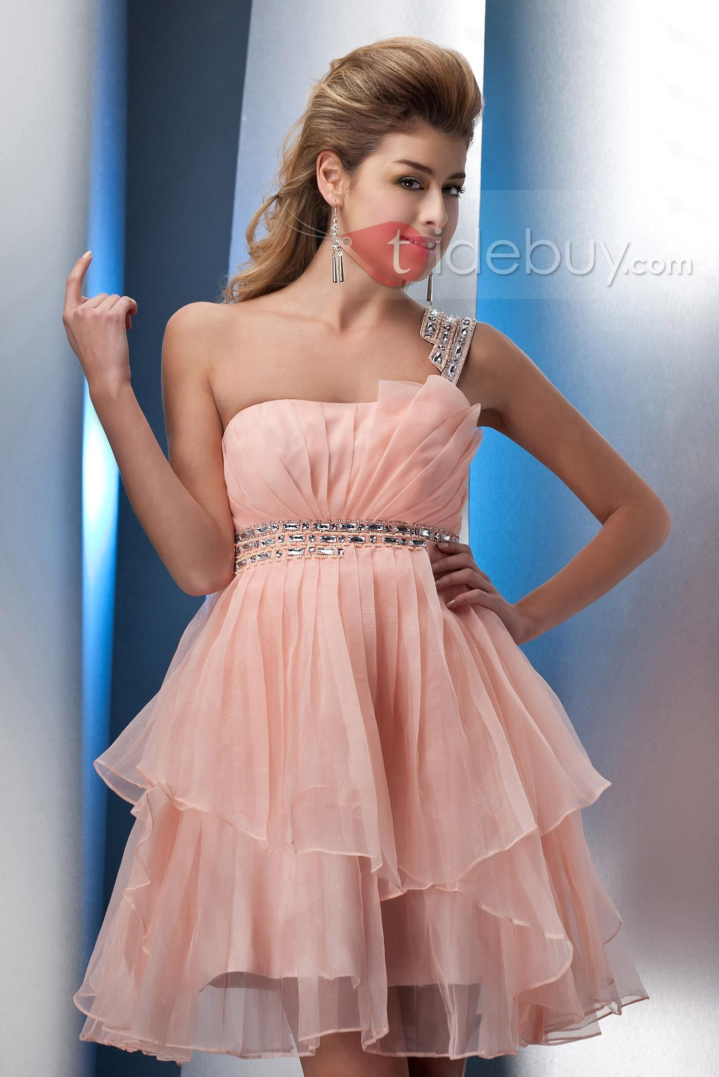 Brilliant One-Shoulder Mini/Short-Length Empire Waistline Sweet 16 ...