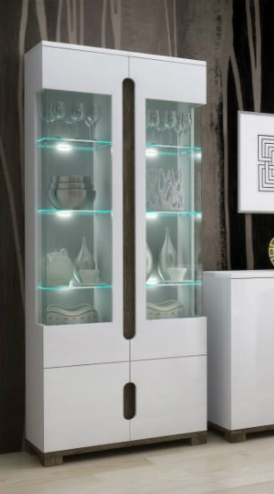 High Gloss White Tall Display Cabinet 2 Glass Door Led Lights Office