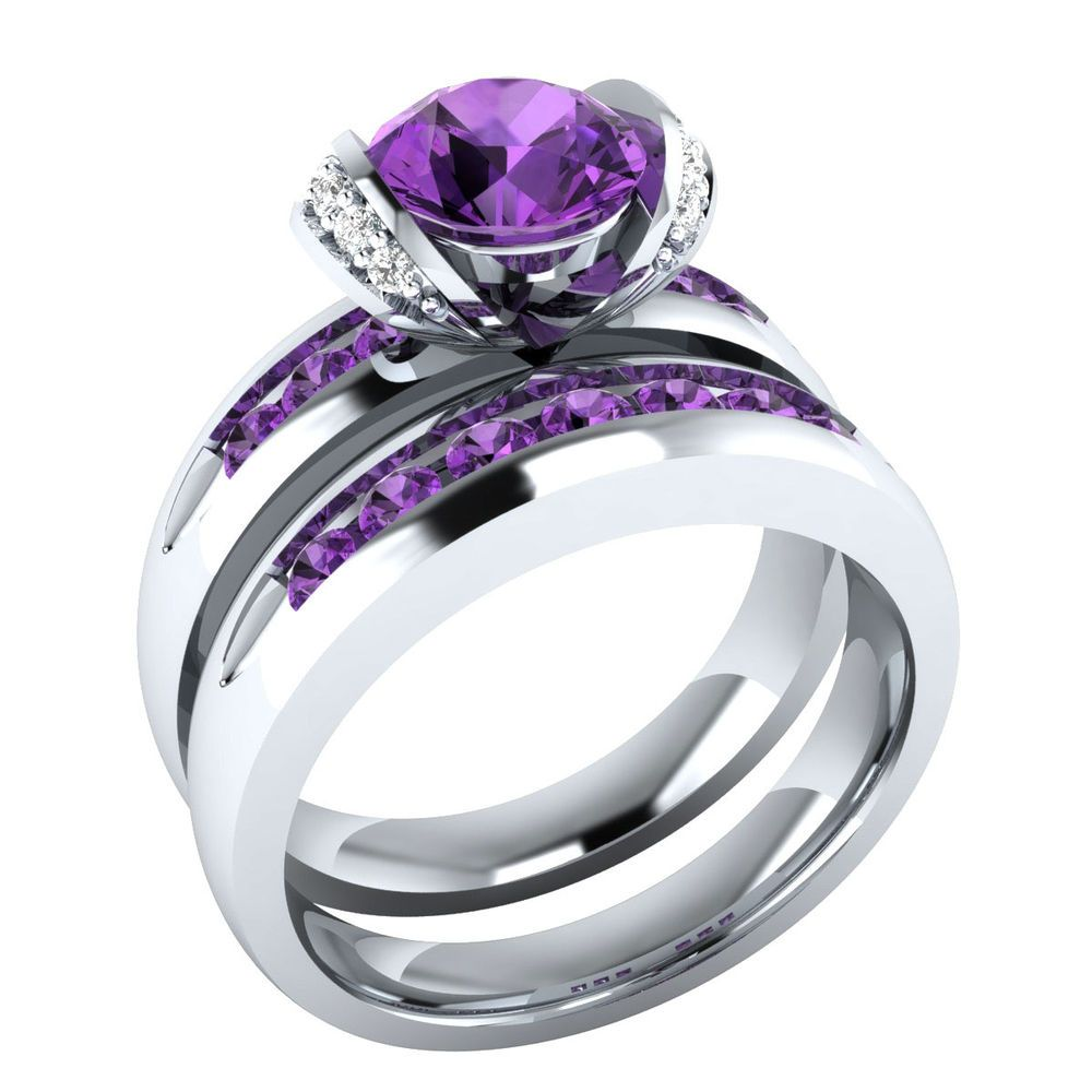 1 30 Ct Real Purple Amethyst W Diamond 10k White Gold Wedding
