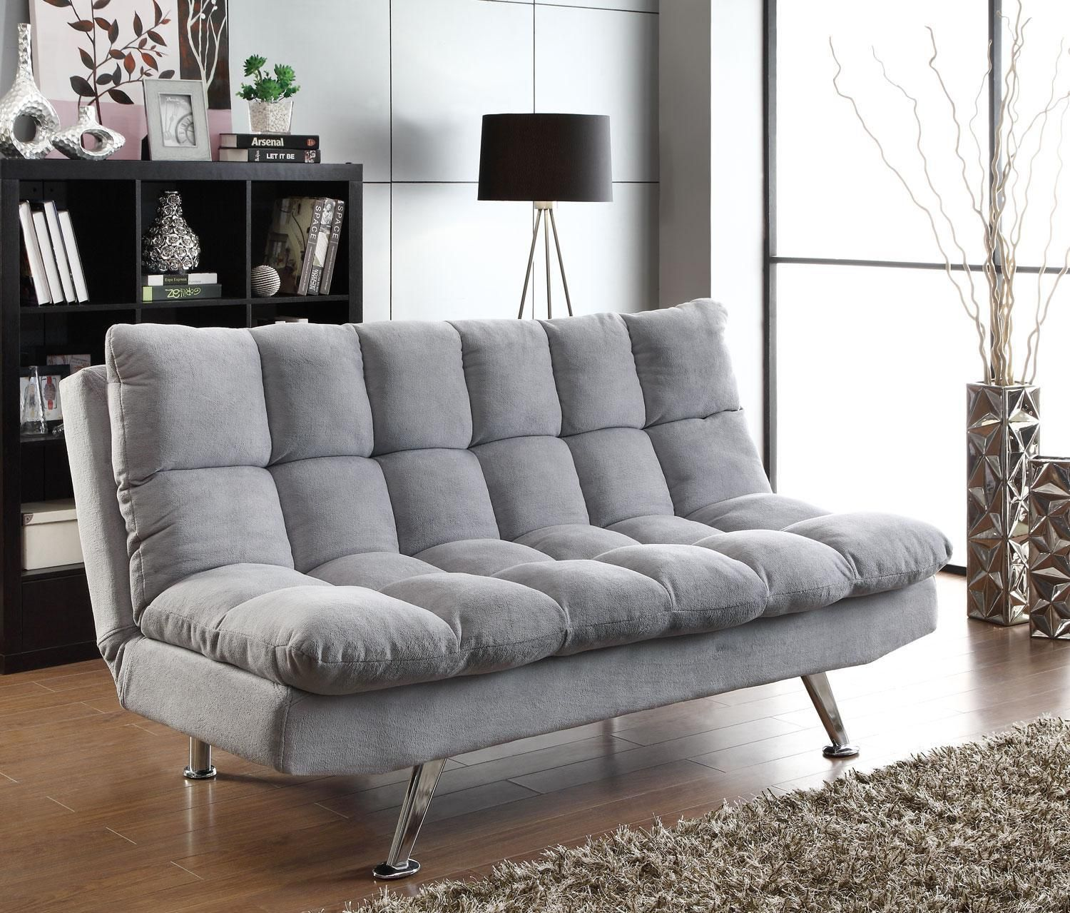 Coaster Cs775 Gray Padded Sofa Bed W Chrome Legs Products In