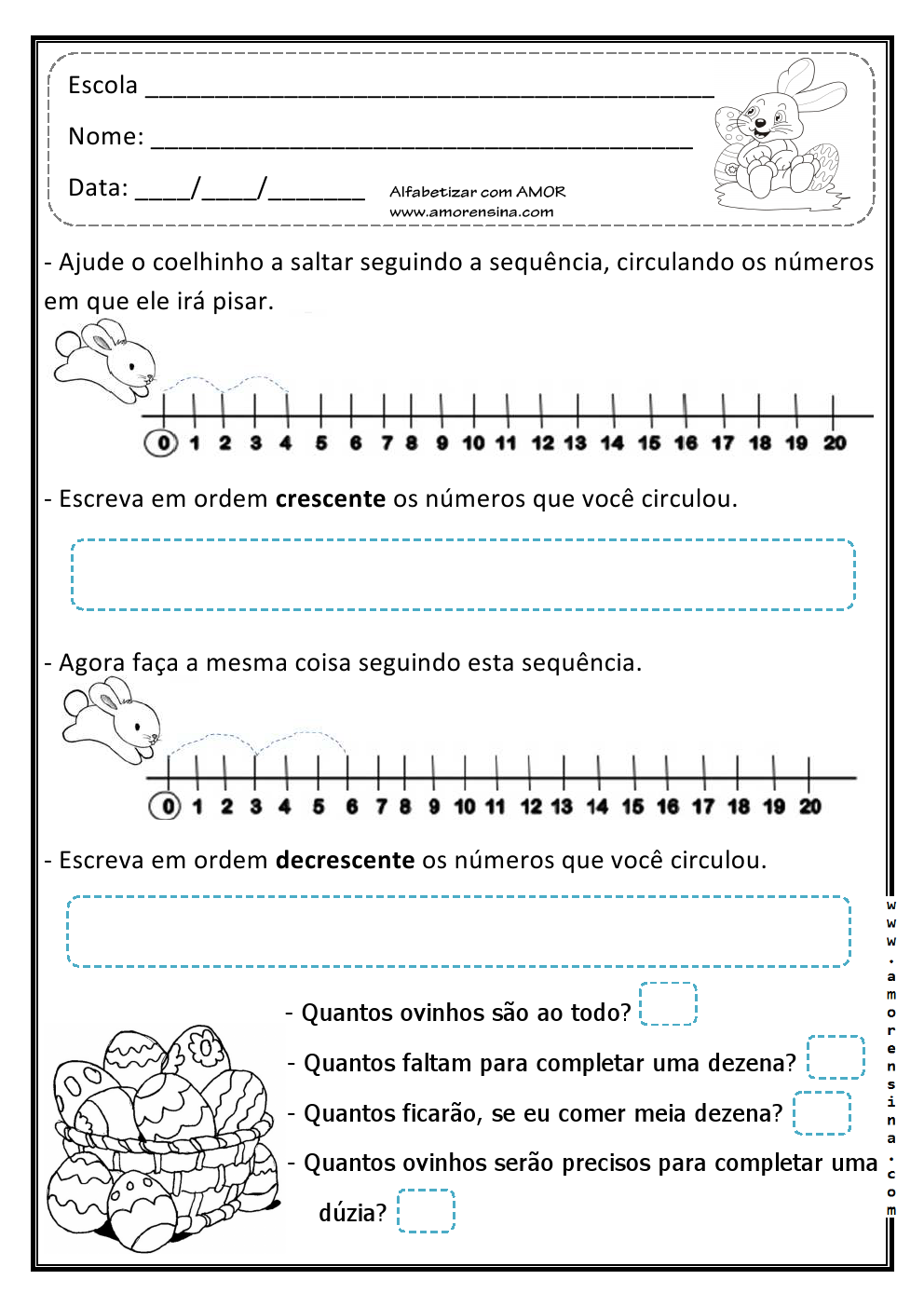Alfabetizar com AMOR: SEGUINDO A SEQUÊNCIA COM O COELHINHO ( TRABALHANDO ORDEM CRESCENTE E DECRESCENTE) - 1º/2º ANO