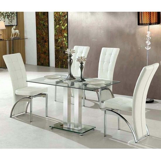 Jet Small Dining Table Rectangular In Clear Glass With 4 Ravenna White Dining Chairs This Beau White Glass Dining Table White Dining Chairs White Dining Table