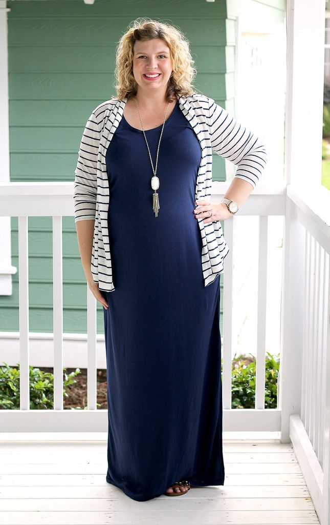 navy maternity maxi dress and white and navy striped cardigan ...
