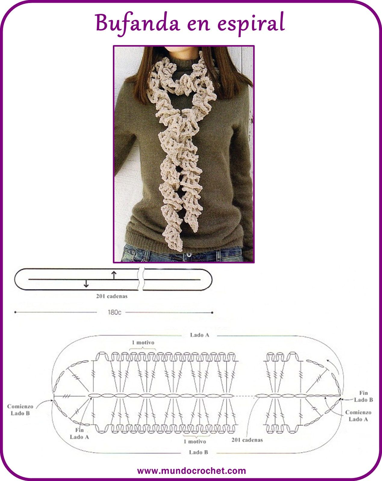 Spiral scarf with diagram - Bufanda a crochet en espiral | Crochet ...