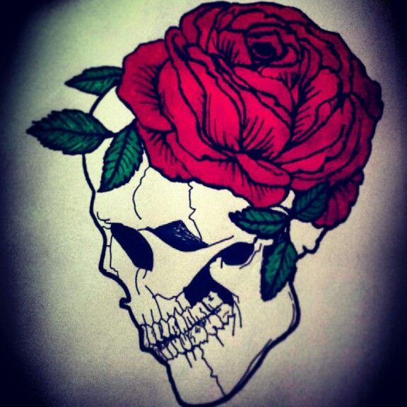 SkullRose tattoo drawing