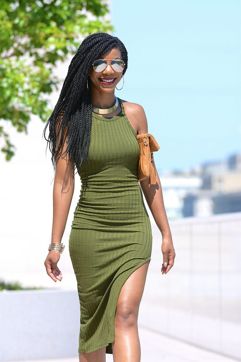 1ac29e73a6 SheIn Side Slit Ribbed Olive Green Cami Midi Dress, Khaki Green, Olive Green,  Nude Aldo Caged Sandals, Mirror Aviators