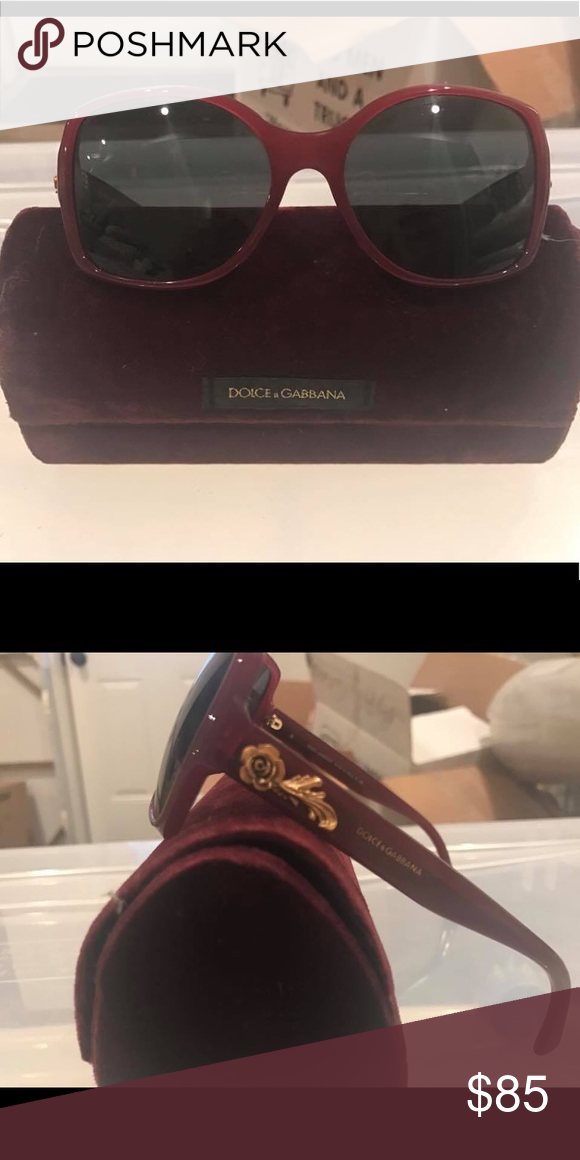 30154902224b Dolce   Gabbana Sunglasses Red square sunglasses with gold rose  embellishment on frame   excellent condition   AUTHENTIC Dolce   Gabbana  Accessories ...