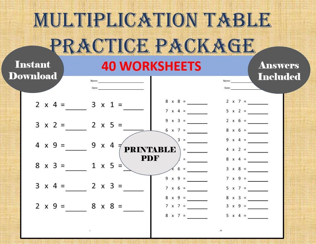 Multiplication Single Digit Practice Worksheets (40