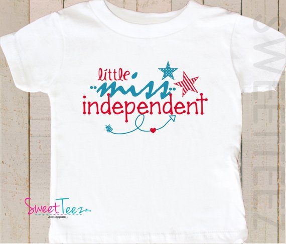 4th Of July Shirt Little Miss Independent Funny Patriotic Little
