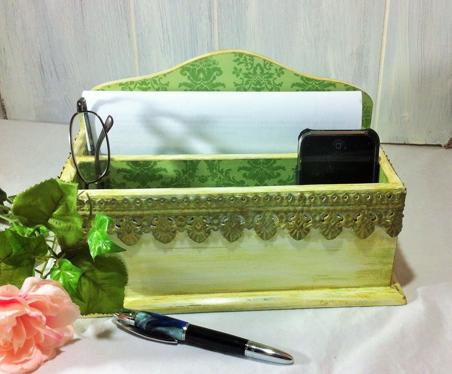 damask office accessories. Vintage Green Mail Holder, Decorative Damask Desk Accessory Organization, White Home Office Top Accessory, Cosmetics Organizer $28.00 By Accessories I