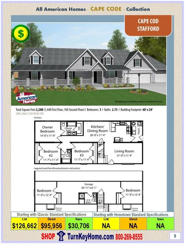 Modular Home All American Homes Cape Cod Stafford Plan Price P9 11 28 15