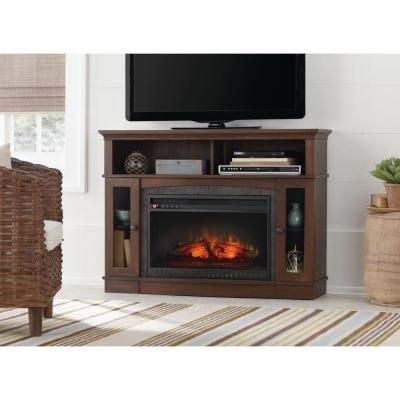 Home Decorators Collection Grafton 46 In Media Console Infrared Electric Fireplace In Medium Brown Walnut Finish Electric Fireplace Tv Stand Fireplace Tv Stand