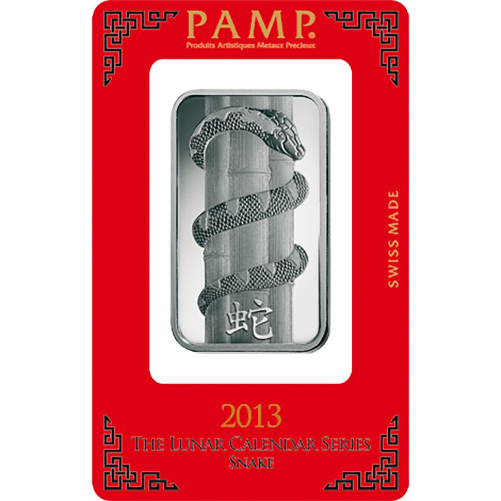 Pamp 2013 Lunar Snake 10g Silver Bar Pamp Lunar Bullion