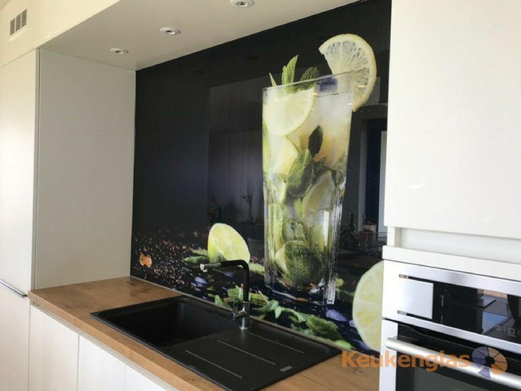 Keukenglas zwart met afbeelding van een cocktail #keukensglas