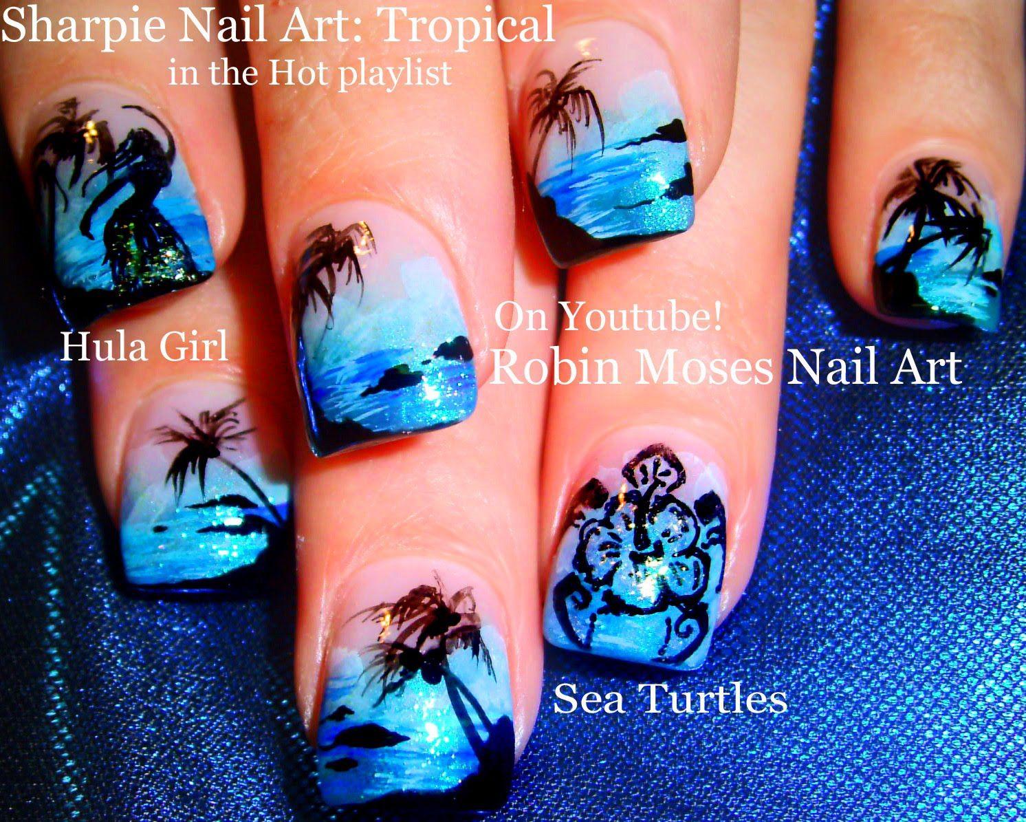 Easy Hot Neon Blue Nails Tropical Beach Vacation Nail Art Design