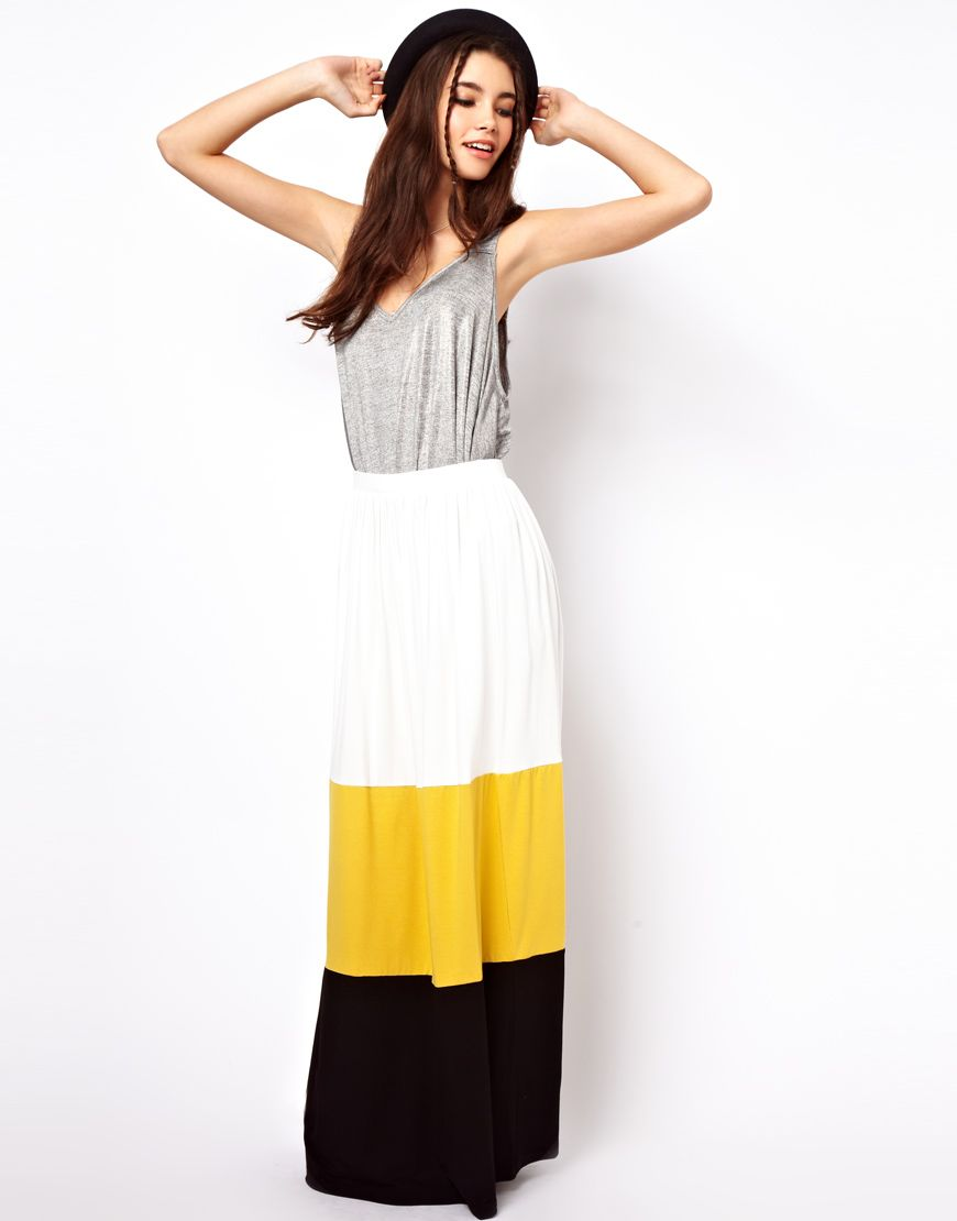 Asos maxi skirt in color block ropa casual pinterest color
