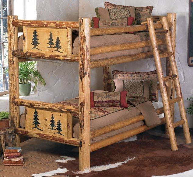 Log Bunk Bed Pine Tree Motif Item Br04095 Available As Twin Over Twin Twin Over Full Full Over Full Or