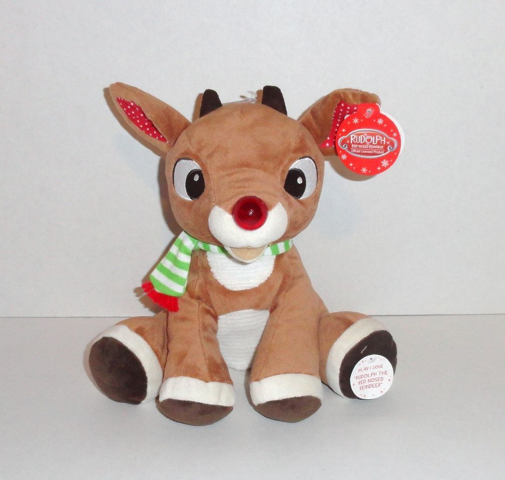 New Musical Plush Baby Rudolph Red Nosed Reindeer LIGHT UP