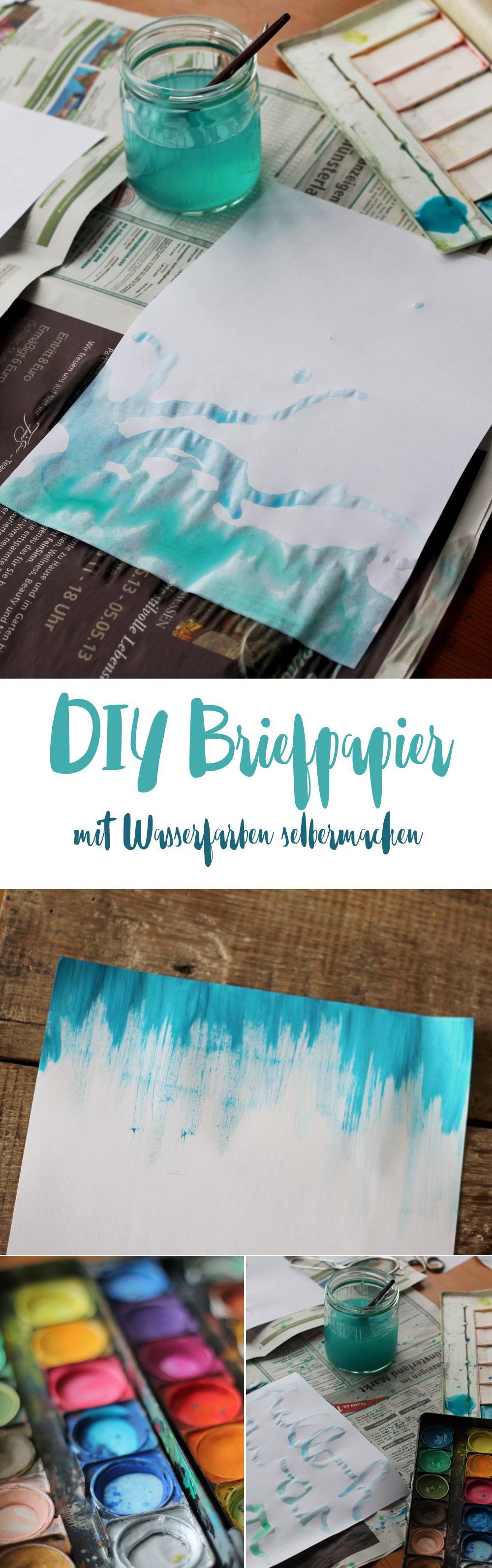 diy briefpapier selbermachen ideen mit wasserfarbe diy papier briefpapier selbermachen. Black Bedroom Furniture Sets. Home Design Ideas