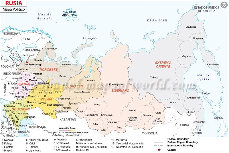 Mapa Politico De Rusia Actual.El Mapa De La Federacion De Rusia Mapa Paises Mapa De