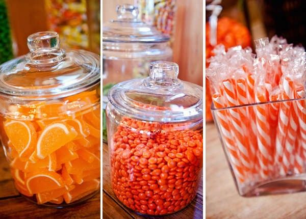 orange candy for dessert table