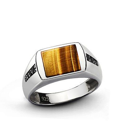 NATURAL TIGER'S EYE Men's Ring SOLID Sterling Silver Classic Style Ring all sz