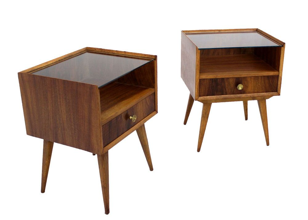 pair of swedish mid century modern end tables- apt mbr side tables