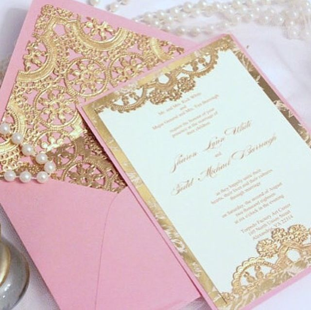 Pink gold wedding invitation cards
