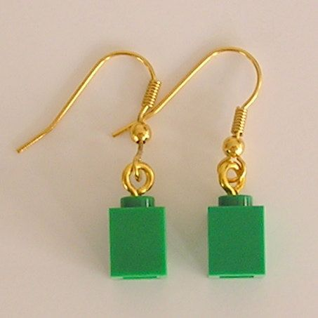 LEGO Earrings Green Bricks 1x1  NEW!!!