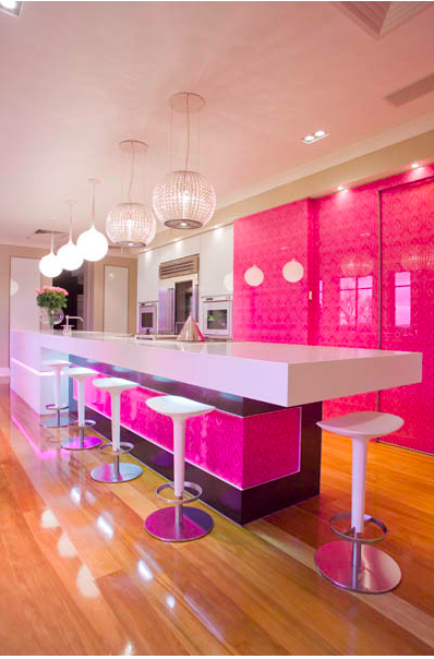 hot pink kitchen yes please hot pink kitchen pink interiors design pink kitchen on kitchen decor pink id=97093