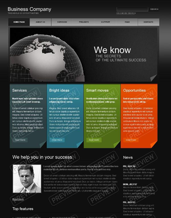 Business website design template website templates for Decorating sites