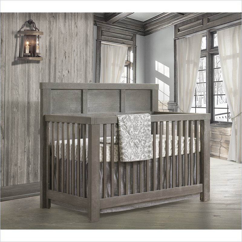 Natart Rustico Brushed Oak 5 In 1 Convertible Crib With Wood Panel