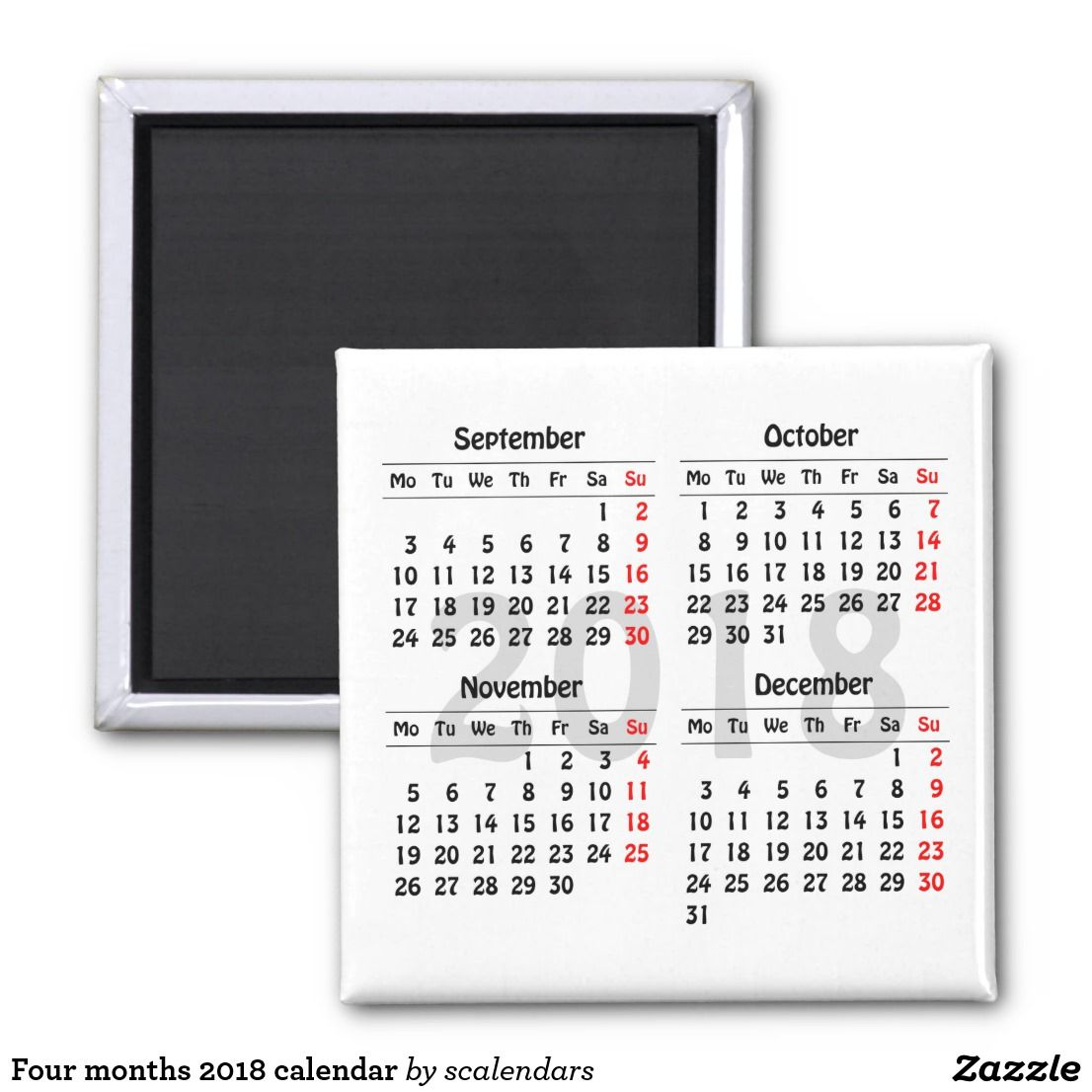 Four Months  Calendar Magnet  Create Your Own  Calendars