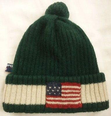 34ee0c2a1fd65 Vintage POLO SPORT Ralph Lauren USA FLAG Knit Hat GREEN Beanie Wool  92 93  bear