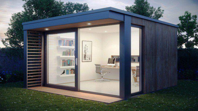 abri e jardin avec coin bureau, plan de travail en bois, chaise
