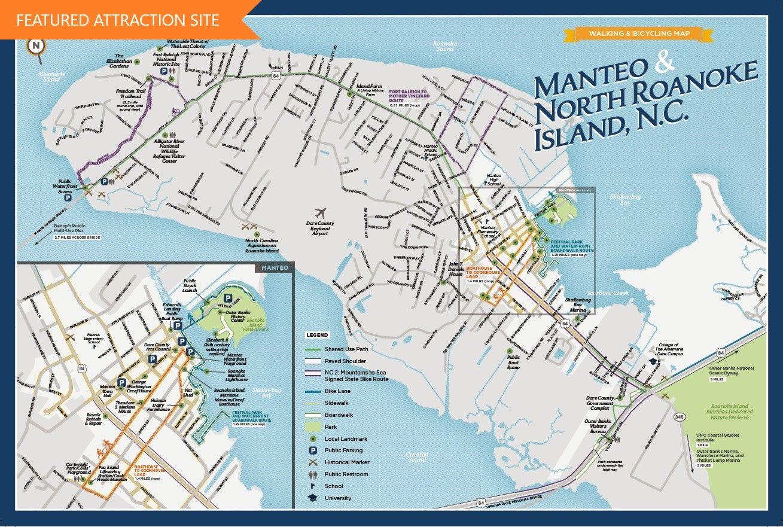 Manteo Bicycling And Walking Map Roanoke Island Map Walking Map