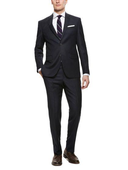 Love how he dresses. Black Pinstripe Suit by Prima Collezione Uomo on Gilt.com
