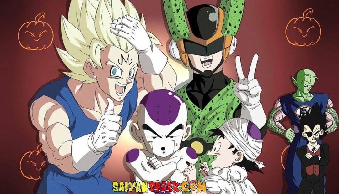 Halloween cosplay! Goku as Majin Vegeta, Krillin as Frieza