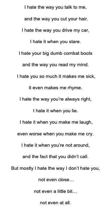 From The Film 10 Things I Hate About You The Poem Kat Stratford