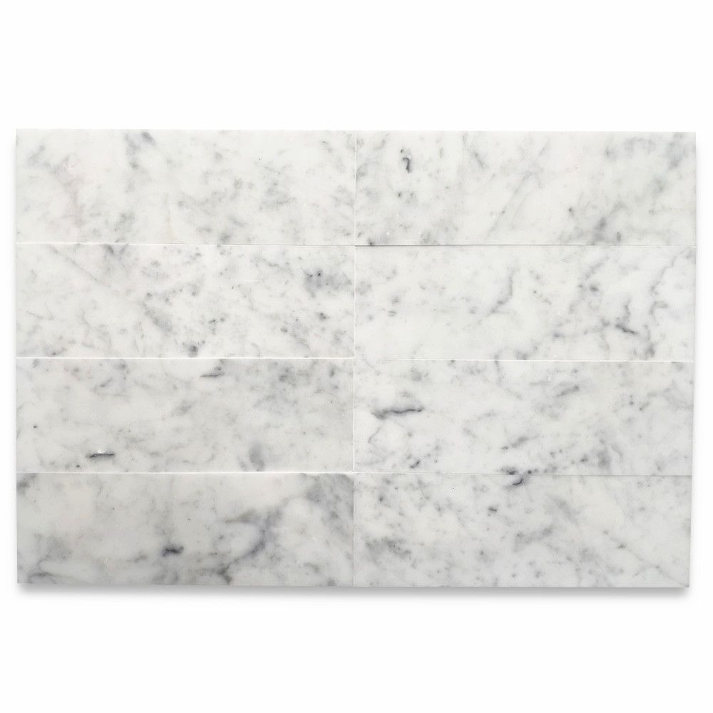Carrara White Marble 6x18 Wall and Floor Tile Polished #whitemarbleflooring