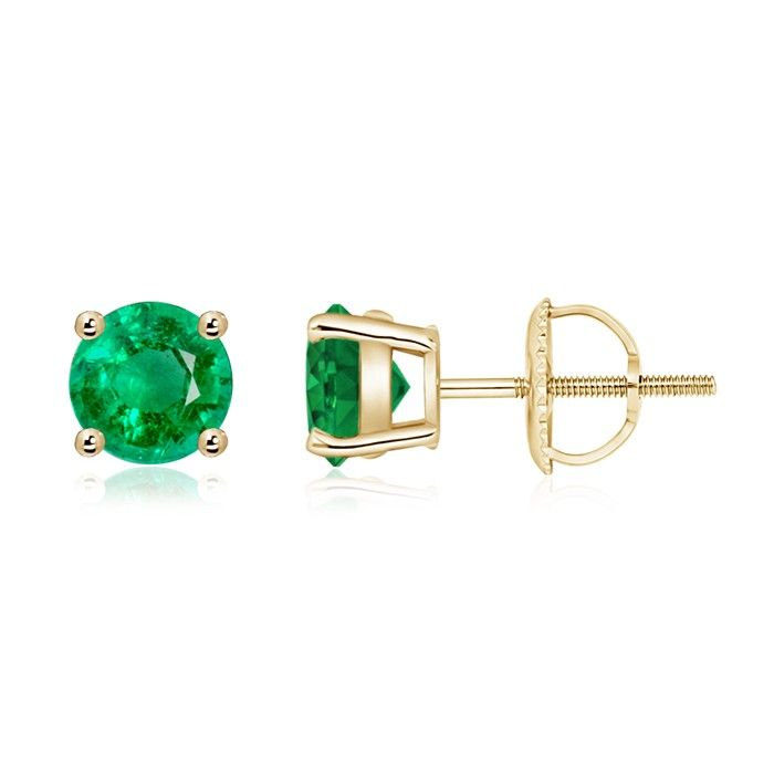 Angara White Gold Emerald Basket Stud Earrings