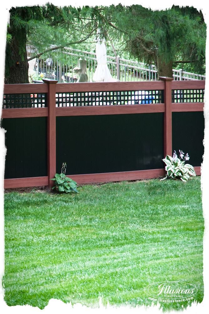 Rosewood And Black Pvc Vinyl Privacy Fence Backyard
