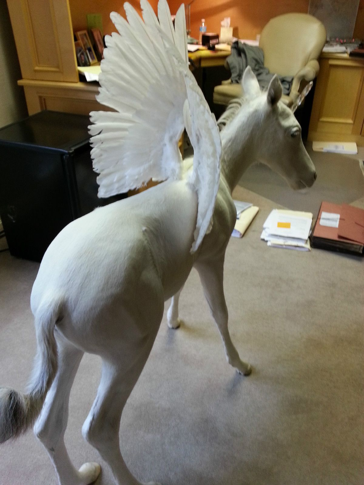 Real Full Body Mount White Pegasus Unicorn Unipeg Horse