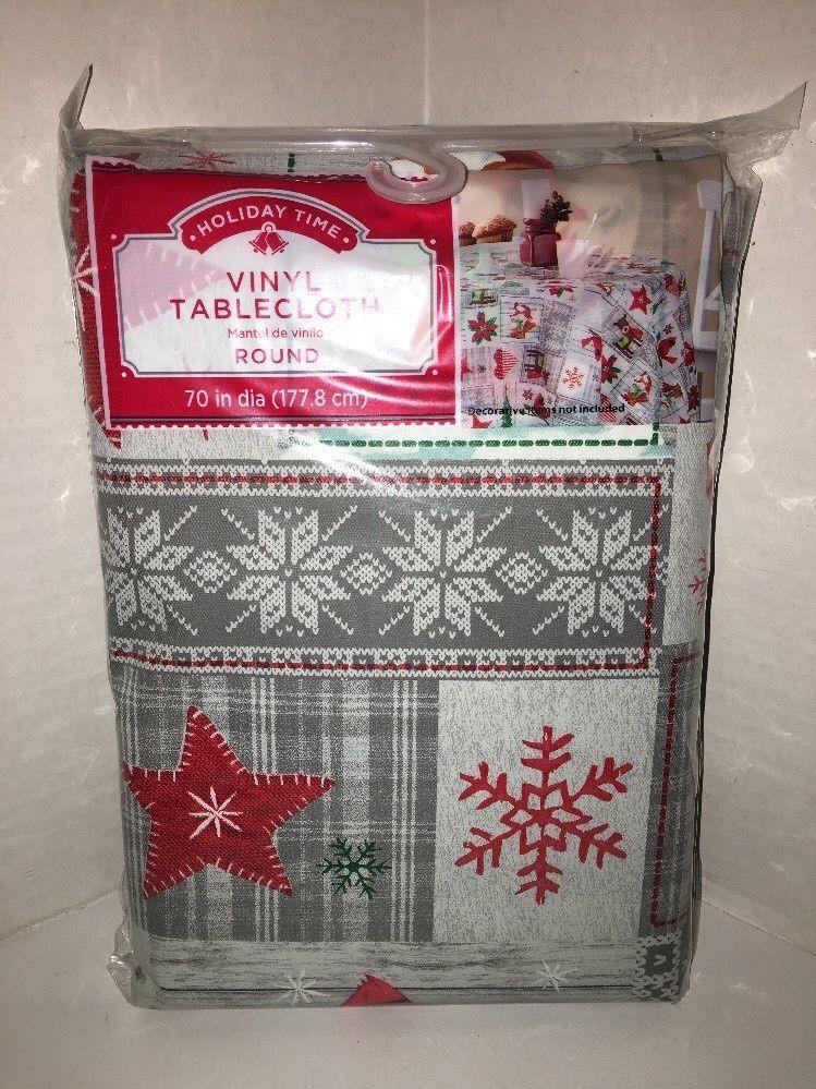 Winter Christmas Cardinals Reindeer Fox Patchwork Vinyl 70 Round Tablecloth Nwt Holidaytime Vinyl Tablecloth Vinyl Table Cloth