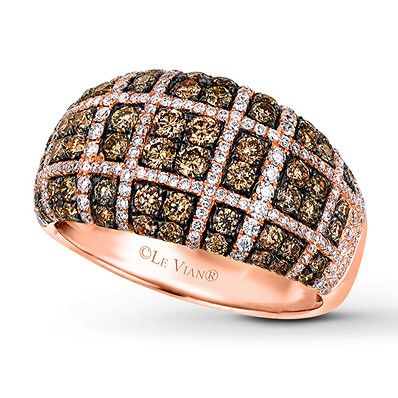 f875a5721 Le Vian Chocolate Diamonds 1-3/8 ct tw 14K Strawberry Gold Ring in ...